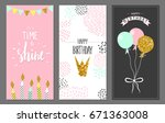 happy birthday greeting cards... | Shutterstock .eps vector #671363008