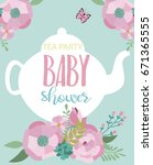 invitation card for baby shower ... | Shutterstock .eps vector #671365555