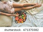 summer healthy raw vegan clean... | Shutterstock . vector #671370382