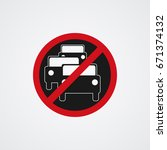 no overtaking road traffic sign ... | Shutterstock .eps vector #671374132