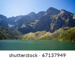 High mountain lake in summer- beautiful weather, Poland, Tatra mountain - stock photo