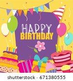 happy birthday vector card.... | Shutterstock .eps vector #671380555