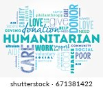 humanitarian word cloud collage ... | Shutterstock . vector #671381422