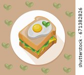 egg toast with green salad... | Shutterstock .eps vector #671382826