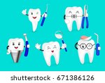 cute cartoon tooth happily with ... | Shutterstock .eps vector #671386126