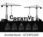 crane and creative building.... | Shutterstock .eps vector #671391265