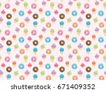 seamless pattern with sweets in ... | Shutterstock . vector #671409352