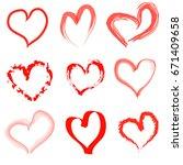 hand drawn hearts set | Shutterstock .eps vector #671409658