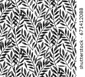 tropical palm leaves  seamless... | Shutterstock .eps vector #671412088