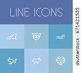 set of 6 editable zoology icons....