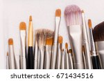 makeup brushes with natural and ...   Shutterstock . vector #671434516