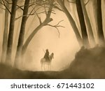 Warrior On Horseback In A Fogg...