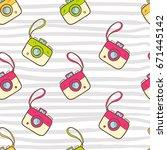 vector seamless summer pattern...   Shutterstock .eps vector #671445142