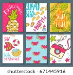 vector collection of summer... | Shutterstock .eps vector #671445916