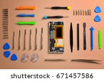 smartphone cover removed ... | Shutterstock . vector #671457586