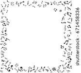 music notes frame. flat  black... | Shutterstock . vector #671458336