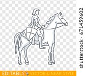 medieval knight on horseback... | Shutterstock .eps vector #671459602