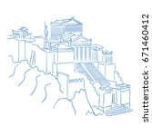 acropolis and parthenon athens... | Shutterstock .eps vector #671460412
