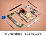 smarphone essentials... | Shutterstock . vector #671461396