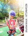 Small photo of Happy young girl ready for adventurous adventure