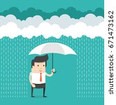 happy businessman standing with ... | Shutterstock .eps vector #671473162