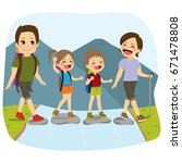 young cute happy family... | Shutterstock .eps vector #671478808