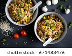 rice with chorizo and vegetable | Shutterstock . vector #671483476