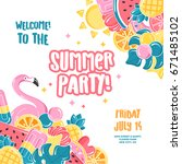 summer party design template.... | Shutterstock .eps vector #671485102