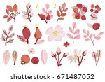 vector set of red branches ... | Shutterstock .eps vector #671487052