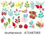 vector set of floral... | Shutterstock .eps vector #671487085
