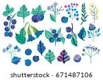 vector set of blue flowers ... | Shutterstock .eps vector #671487106