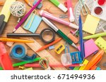 school office supplies on a... | Shutterstock . vector #671494936