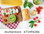 overhead photo of an assortment ... | Shutterstock . vector #671496286