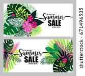 set of poster summer sale on a... | Shutterstock .eps vector #671496535