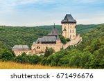 karlstejn castle  large gothic... | Shutterstock . vector #671496676