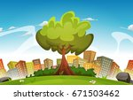 spring city landscape ... | Shutterstock .eps vector #671503462