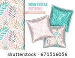 pattern and set of 3 matching... | Shutterstock .eps vector #671516056