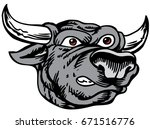Mascot Bull head, proud and tough, which gives tribute to traditional school mascots but with a new look and attitude. Suitable for all sports. - stock vector
