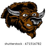Mascot Bison head, proud and tough, which gives tribute to traditional school mascots but with a new look and attitude. Suitable for all sports. - stock vector