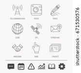 handshake  contacts and gps... | Shutterstock .eps vector #671530576