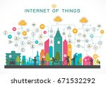internet of things concept with ... | Shutterstock .eps vector #671532292