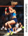 Small photo of STOCKHOLM, SWEDEN - JUNE 18, 2017: Happy Angelica Bengtsson (SWE) at the pole vault in the IAAF Diamond leauge Bauhaus Galan at Stockholm stadion.