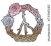 peace wreath with roses.... | Shutterstock .eps vector #671540182