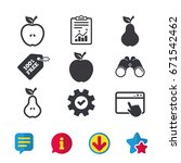 fruits with leaf icons. apple...