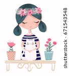 cute girl with cat vector...   Shutterstock .eps vector #671543548