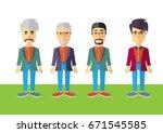 men colorful vector flat design | Shutterstock .eps vector #671545585