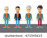 men colorful vector flat design | Shutterstock .eps vector #671545615