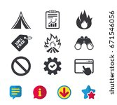 tourist camping tent icon. fire ...