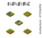 isometric road set of footpath  ...   Shutterstock .eps vector #671546356