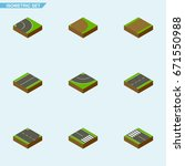 isometric road set of footpath  ... | Shutterstock .eps vector #671550988